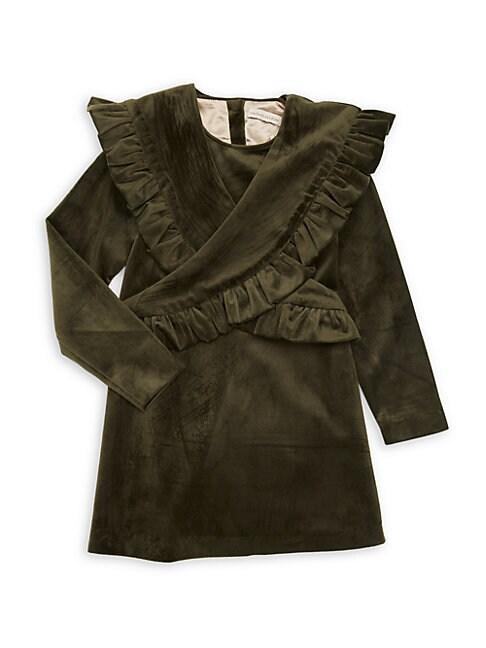 CARBON SOLDIER | Little Girl's & Girl's Mustang Velvet Ruffle Front Dress | Goxip