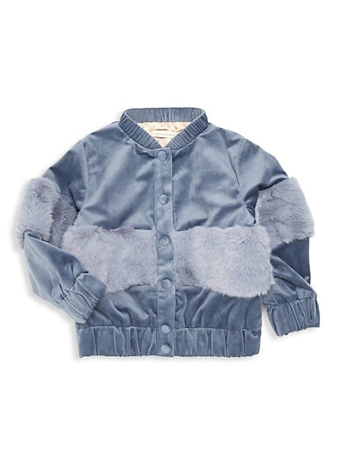 Little Girls  Girls Banker Velvet  Faux Fur Bomber Jacket