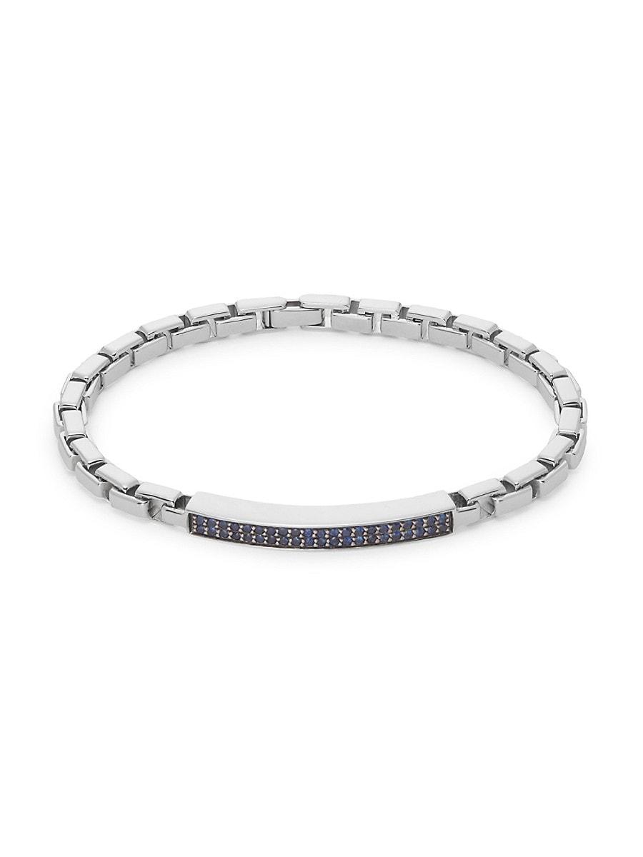 Men's Sterling Silver & Sapphire Bracelet