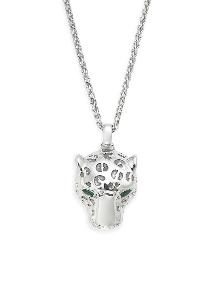 Men's 925 Sterling Silver Emerald Panther Pendant Necklace