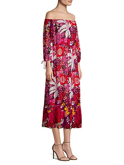03d2df7e Trina Turk Found In Translation Cattleya Off-The-Shoulder Midi Dress ...