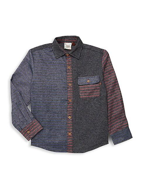 Baby Boys Little Boys  Boys Combo Stripe Brushed Shirt