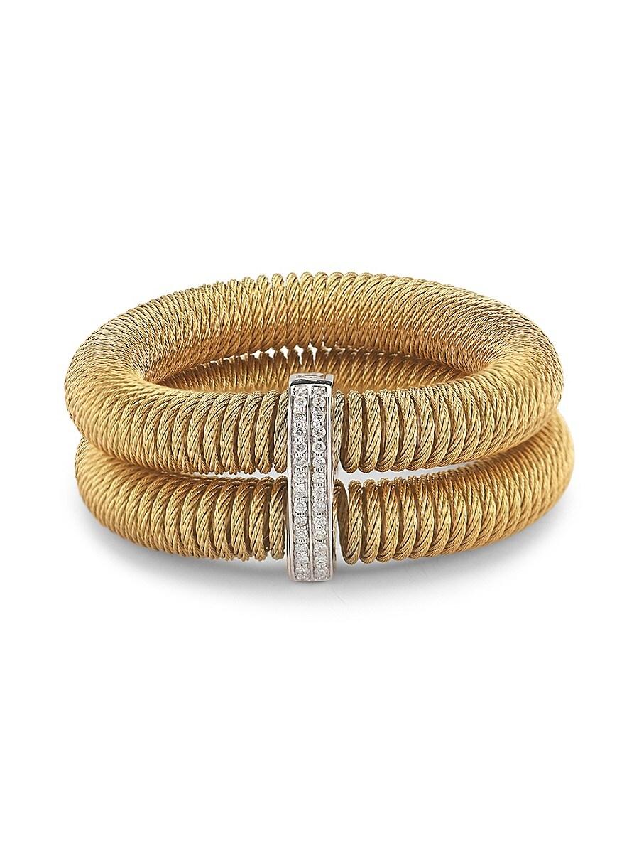 Women's Kai 18K White Gold & Yellow-Tone Stainless Steel Diamond Tiered Coiled Bangle Bracelet