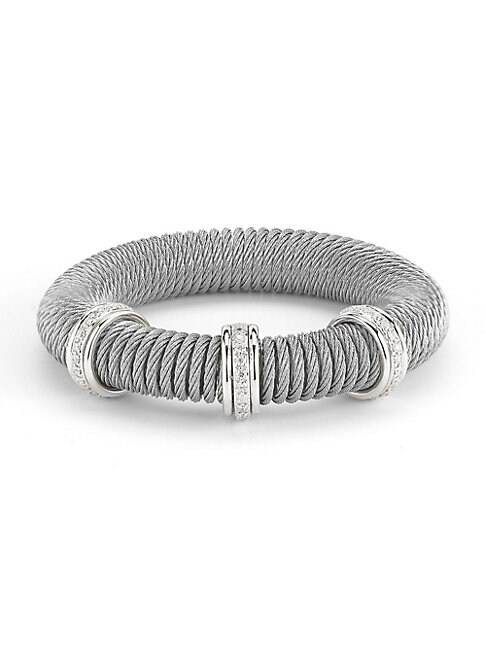 ALOR | Kai 18K White Gold & Stainless Steel Diamond Coiled Bangle Bracelet | Goxip