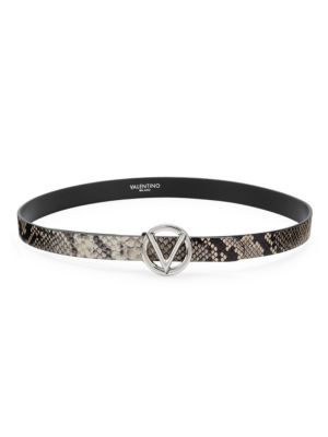 Valentino By Mario Valentino Belts Python-Embossed Leather Belt