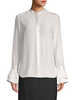 74449c3d3afcfc Safiya Bell-Sleeve Silk Blouse OLIVINE. QUICK VIEW. Product image