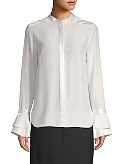 ccc30e728daad7 Safiya Bell-Sleeve Silk Blouse OLIVINE. QUICK VIEW. Product image