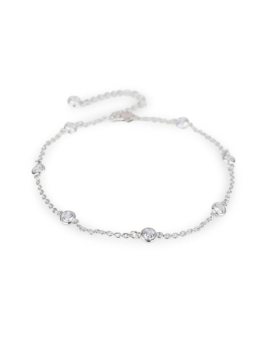 Women's Silvertone & Cubic Zirconia Bezel Station Ankle Bracelet
