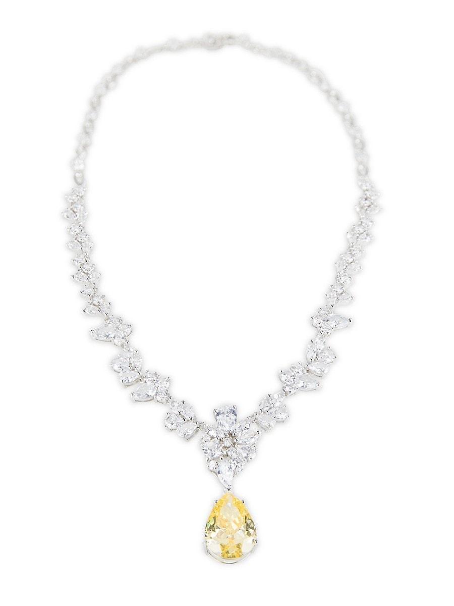 Women's Silvertone & Cubic Zirconia Multi-Station Pear-Drop Necklace