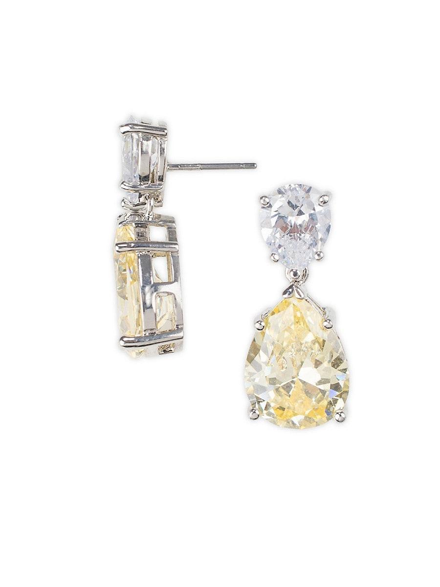 Women's Silvertone & Cubic Zirconia Double-Pear Drop Earrings