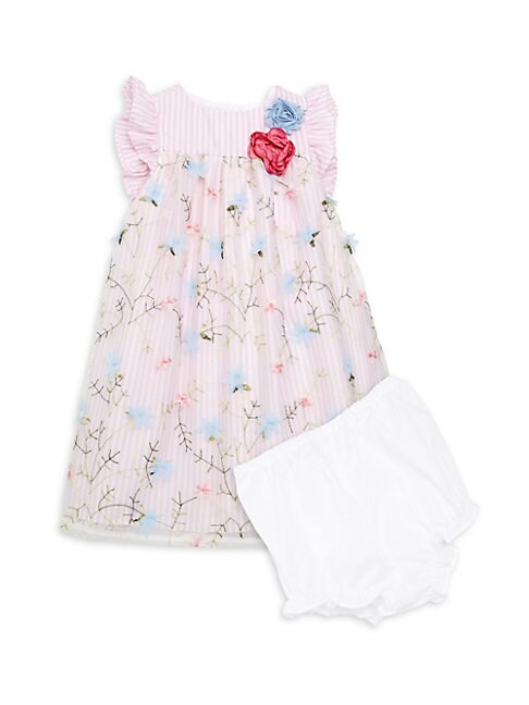 Baby Girls 2Piece Striped Floral Dress  Bloomers Set