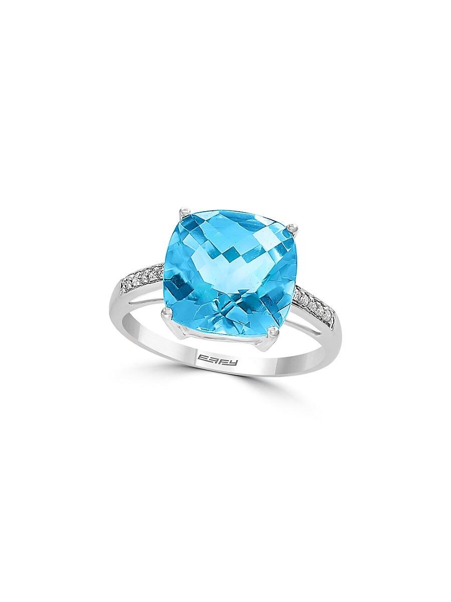 Women's December Blue Topaz & Diamond 14K White Gold Ring/Size 7