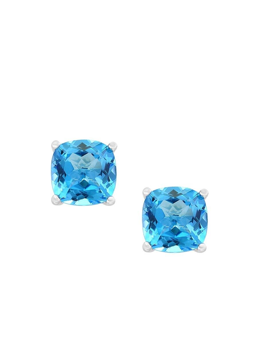 Women's December 14K White Gold & Blue Topaz Stud Earrings