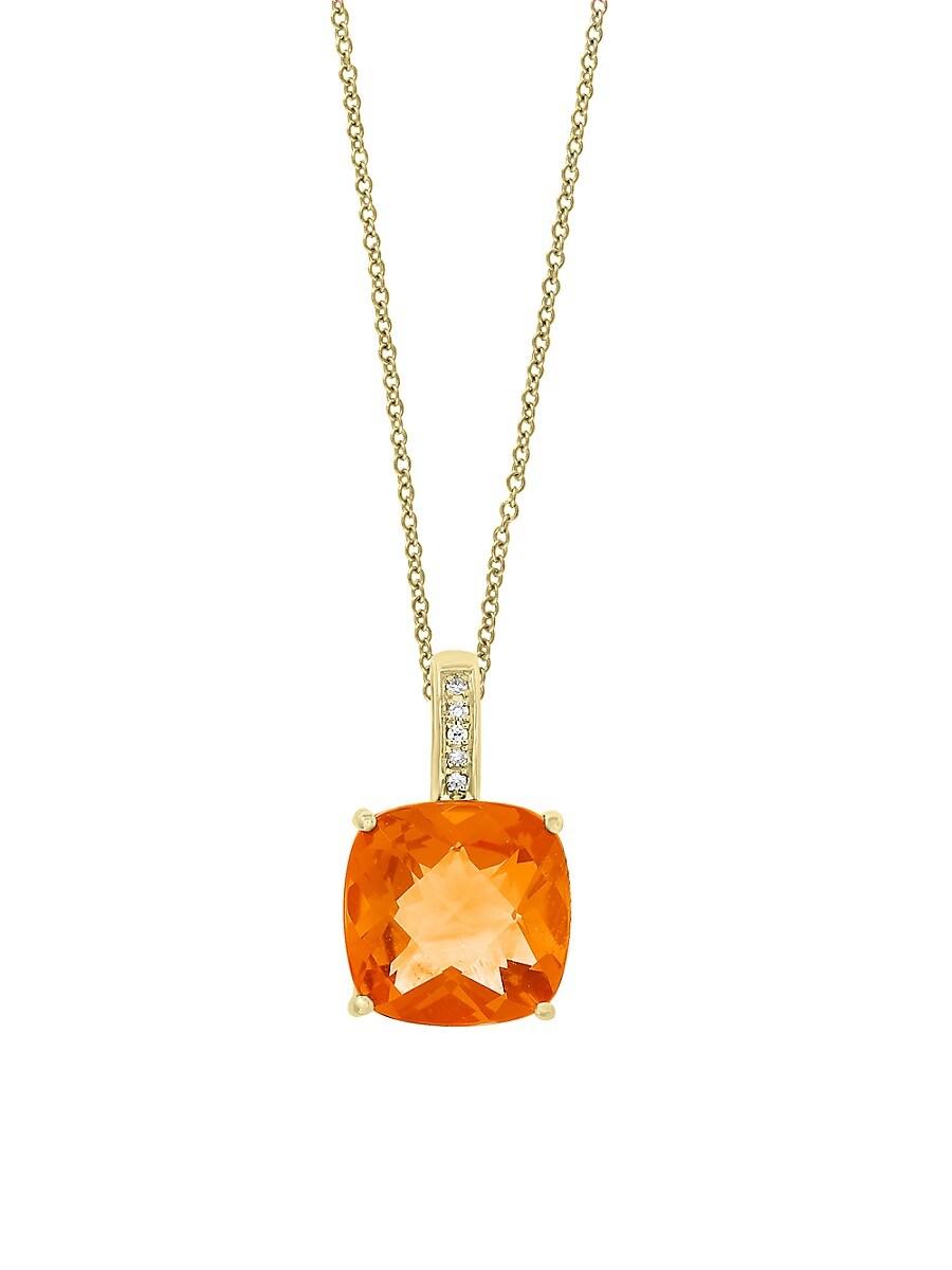 Women's November Citrine & Diamond 14K Yellow Gold Pendant Necklace