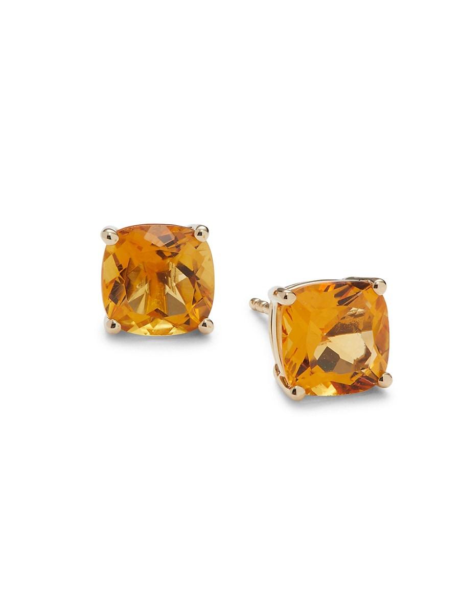 Women's November 14K Yellow Gold Citrine Stud Earrings