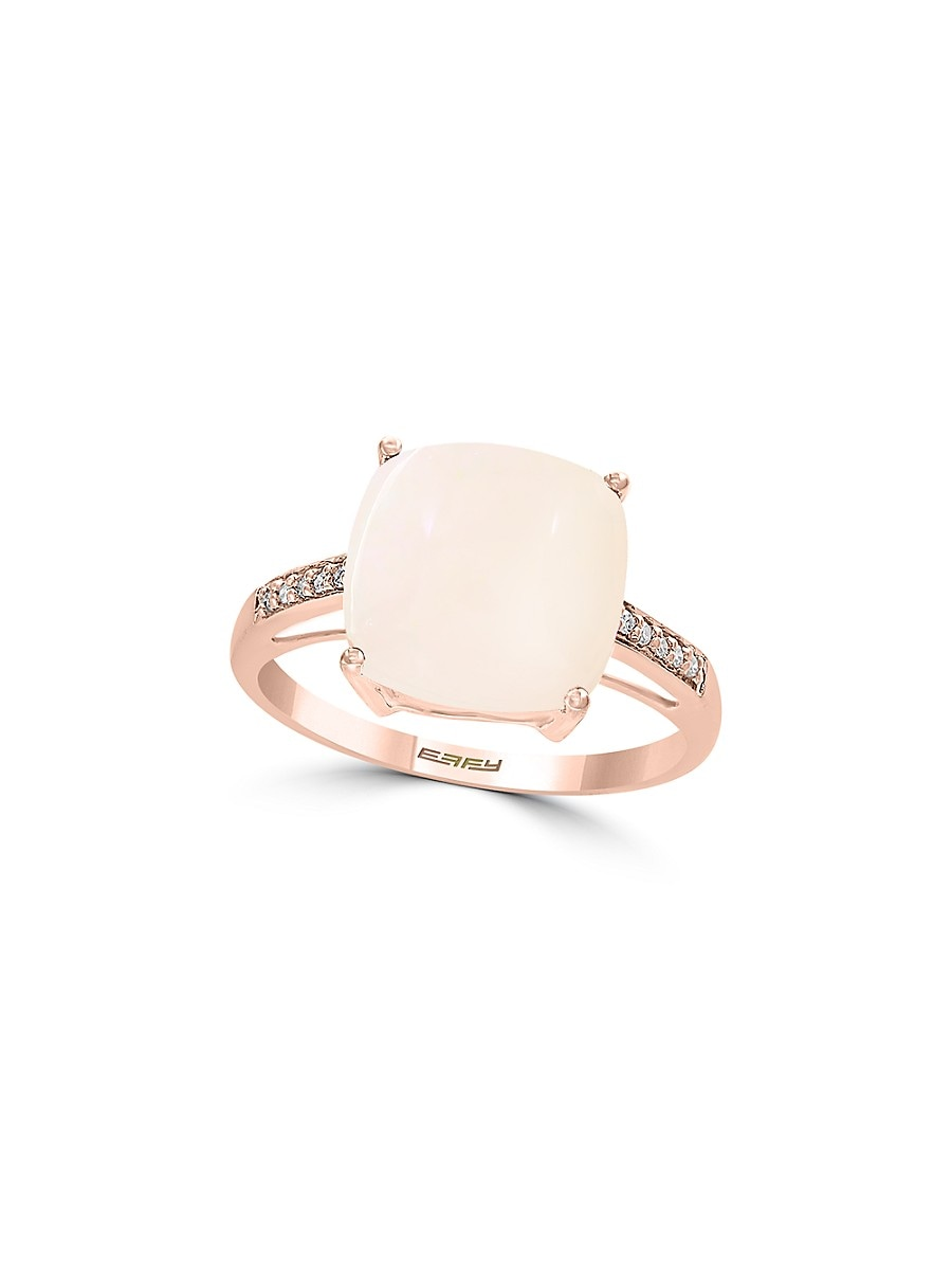 Women's October Opal & Diamond 14K Rose Gold Ring