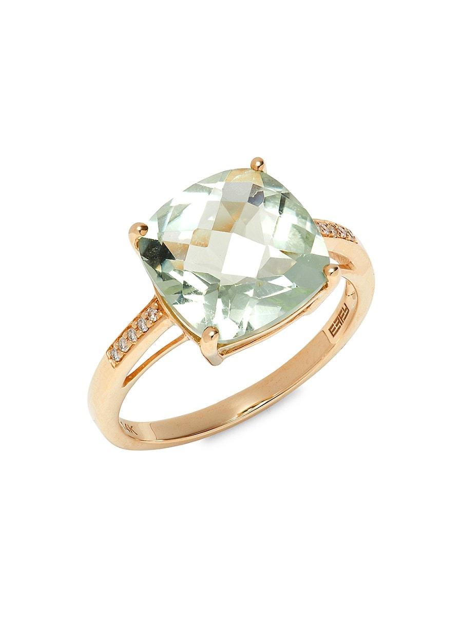 Women's August 14K Yellow Diamond & Green Amethyst Ring/Size 7