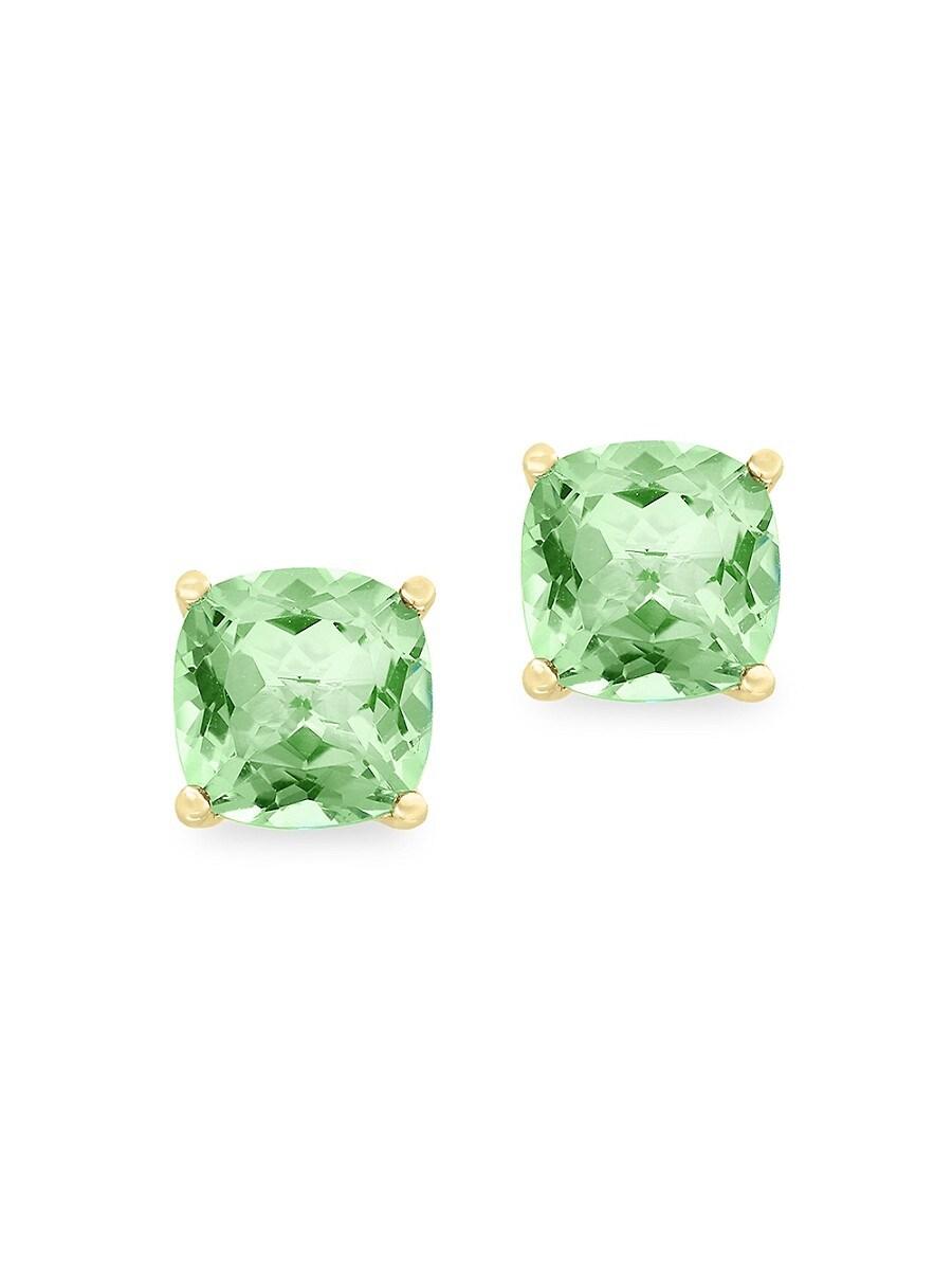 Women's 14K Yellow Gold & Green Amethyst Stud Earrings