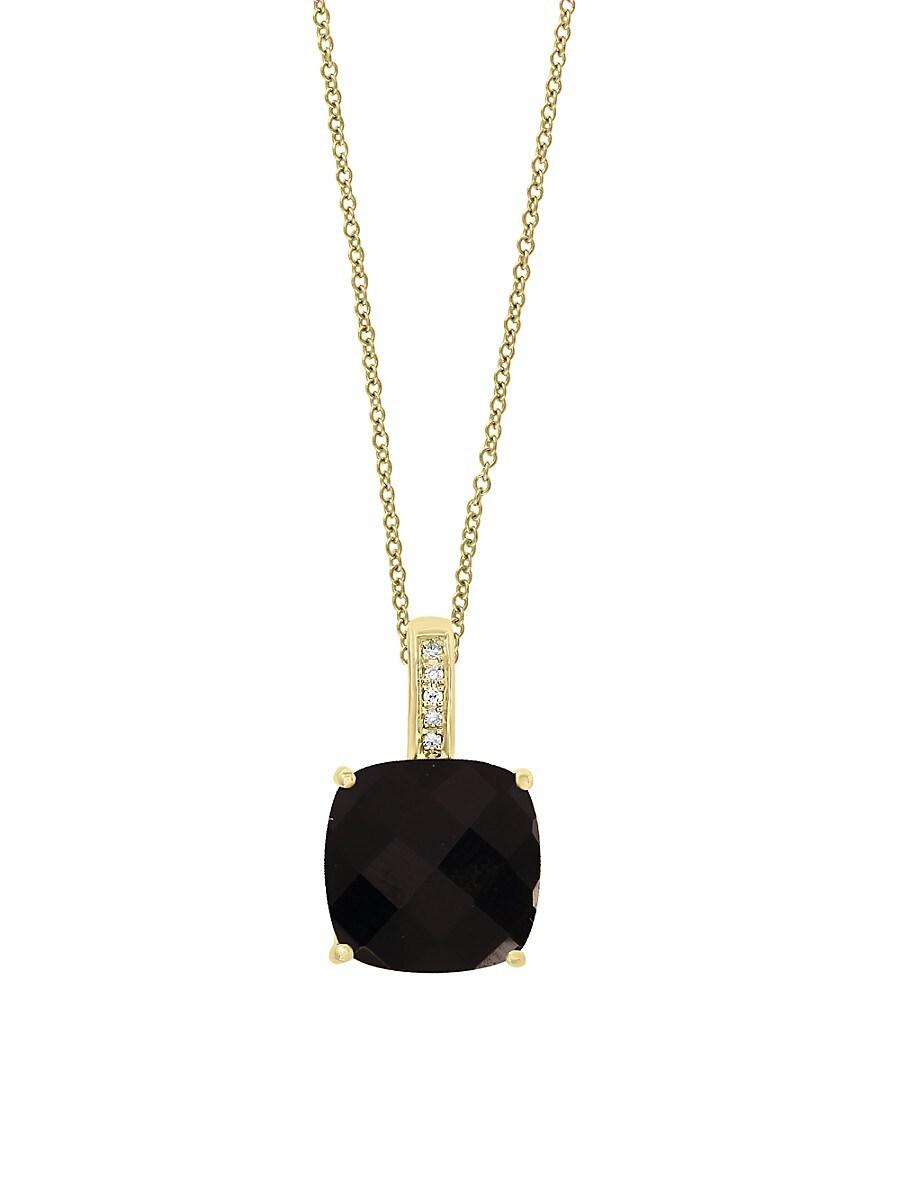 Women's July Onyx & Diamond 14K Yellow Gold Pendant Necklace