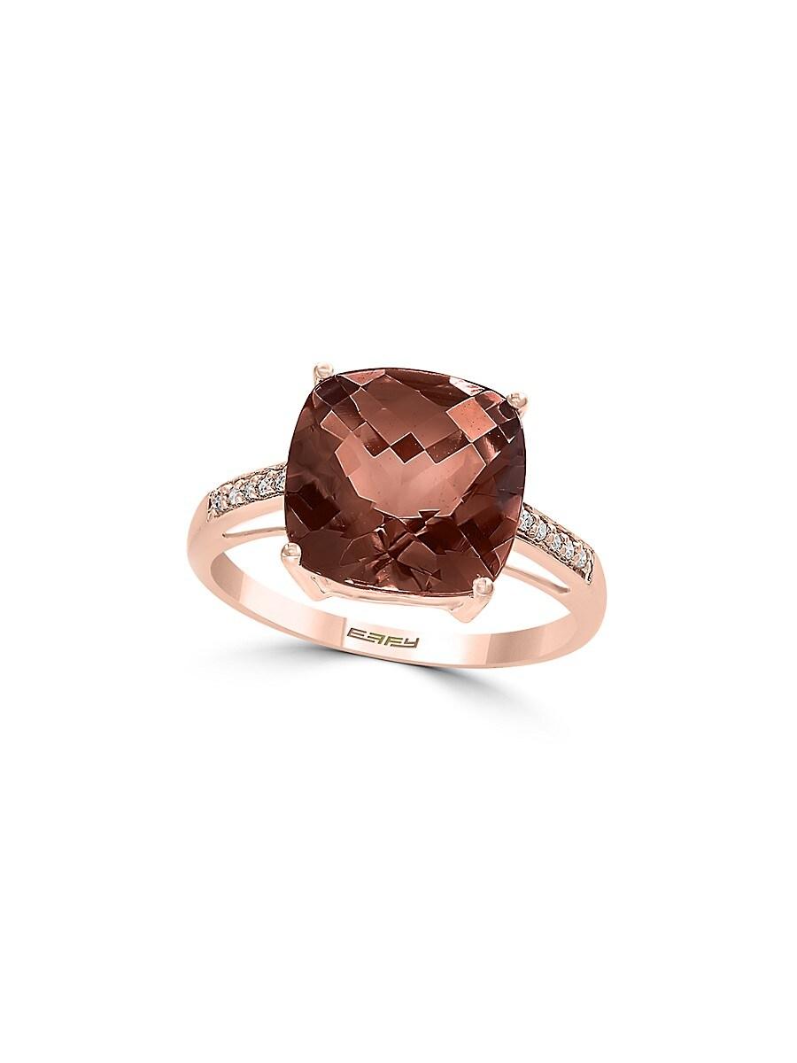 Women's June Smoky Quartz & Diamond 14K Rose Gold Ring