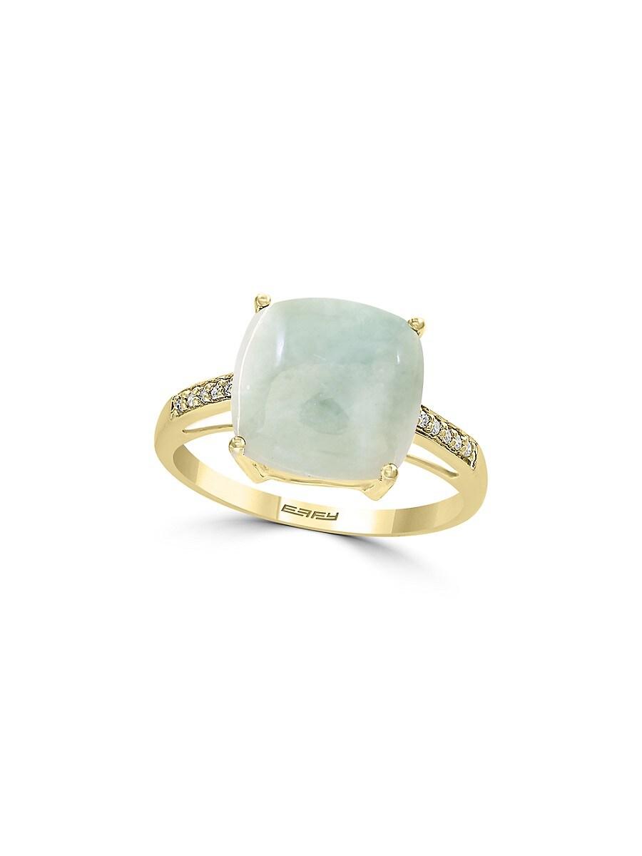 Women's May Jade & Diamond 14K Yellow Gold Ring