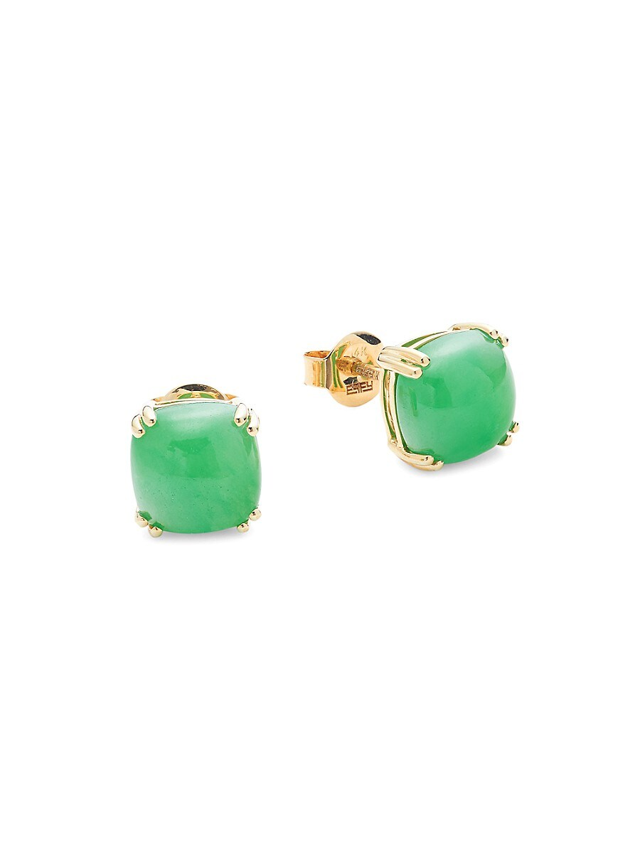 Women's May Jade & 14K Yellow Gold Stud Earrings