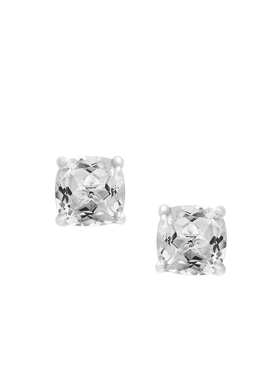 Women's April White Topaz 14K White Gold Stud Earrings