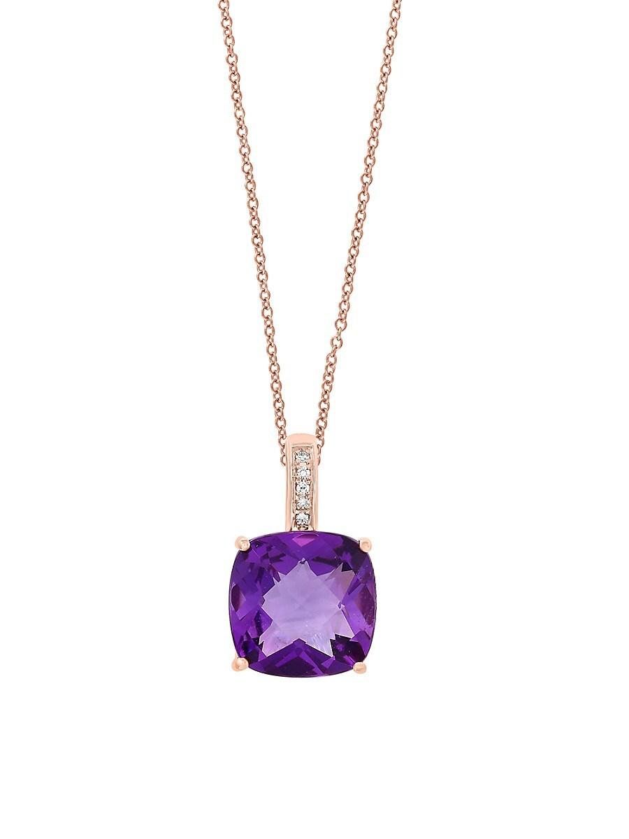 Women's February Amethyst & Diamond 14K Rose Gold Pendant Necklace