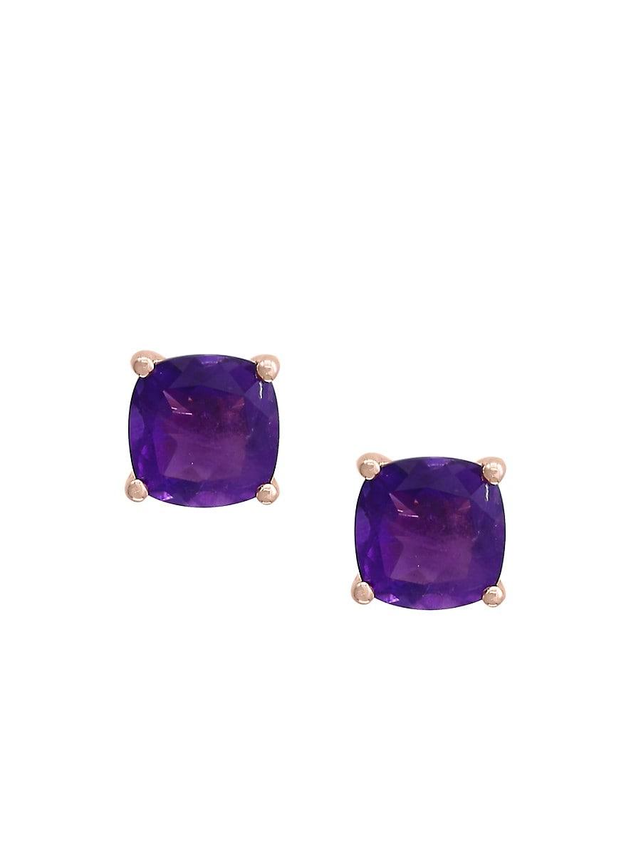 Women's February Amethyst 14K Rose Gold Stud Earrings