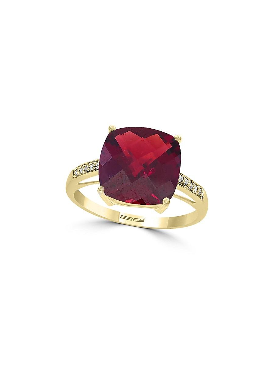 Women's January Garnet & Diamond 14K Yellow Gold Ring