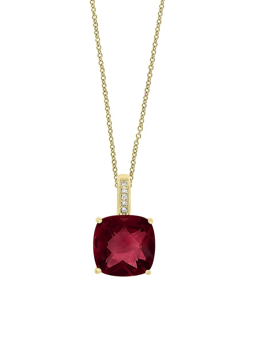 Women's January Garnet & Diamond 14K Yellow Gold Pendant Necklace