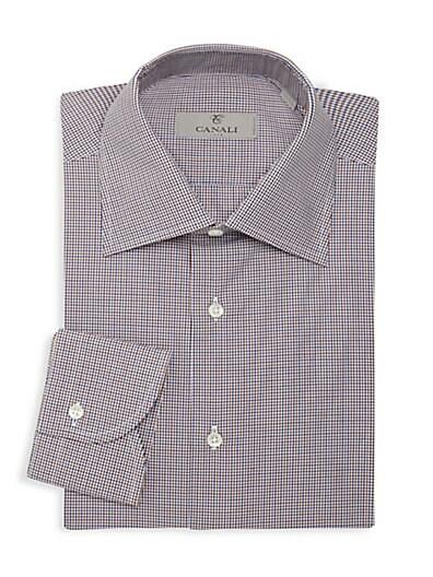 000161e442d Canali Mini Check Print Dress Shirt