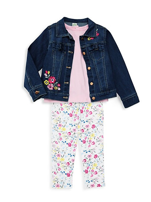 Little Girls 3Piece Denim Jacket Set