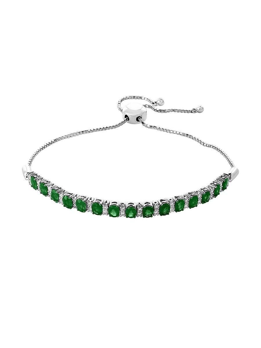Women's 14K White Gold Diamond & Emerald Bracelet