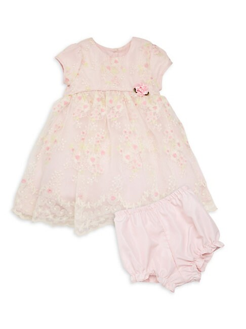 Baby Girls 2Piece Organza Dress  Bloomers Set