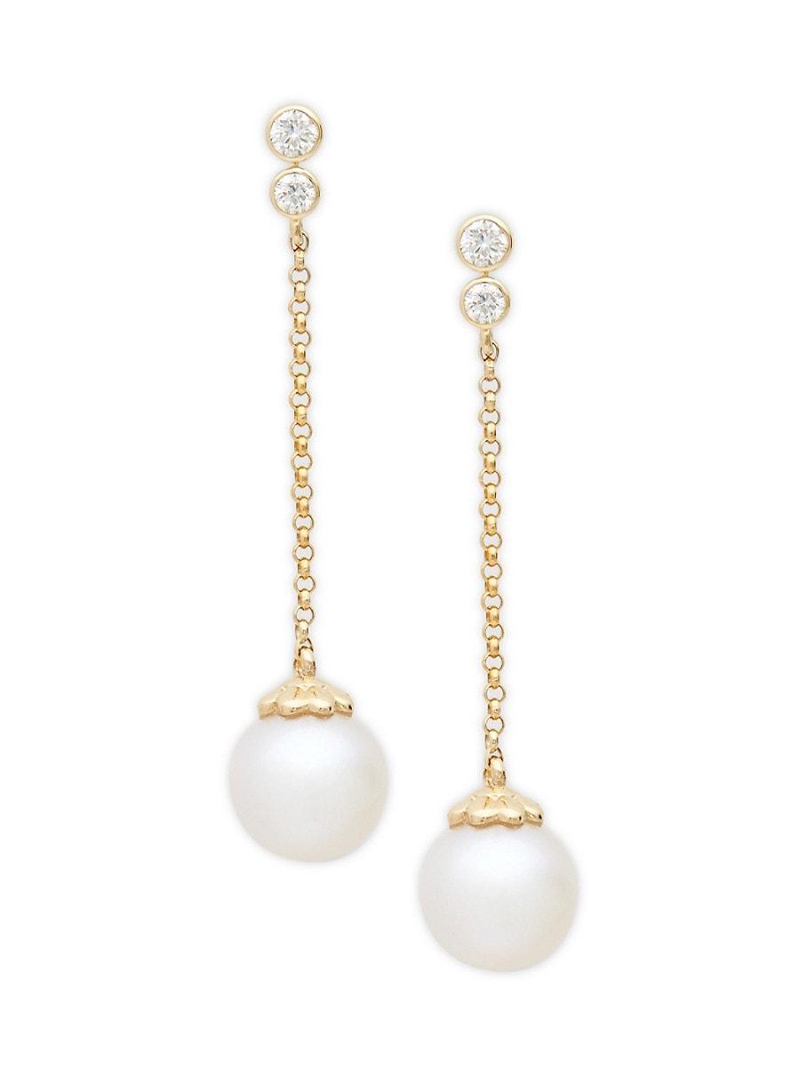 Women's 8MM White Round Freshwater Pearl 14K Yellow Gold & Diamond Linear Drop Earrings