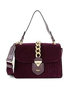 QUICK VIEW. Moschino. Textured Velvet   Leather Handbag 5406002531