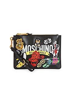 ffef2bab7e Moschino. Logo Patches Leather Wristlet