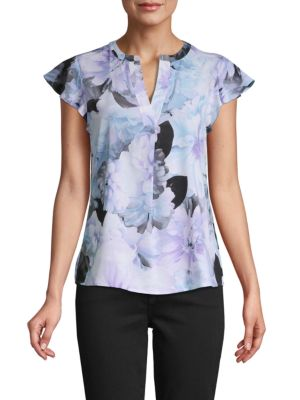Calvin Klein Collection Floral-Print Split Neck Top In Opal Multi