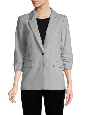 Calvin Klein Collection Ruched-sleeve Blazer In Tin