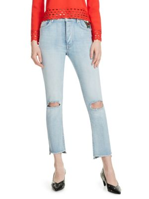 Maje Jeans Paolo Embroidered Distressed Jeans