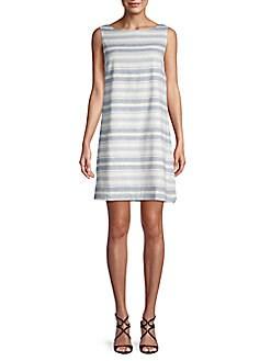 f3b689df27 Beach Lunch Lounge Striped Linen   Cotton Blend Shift Dress