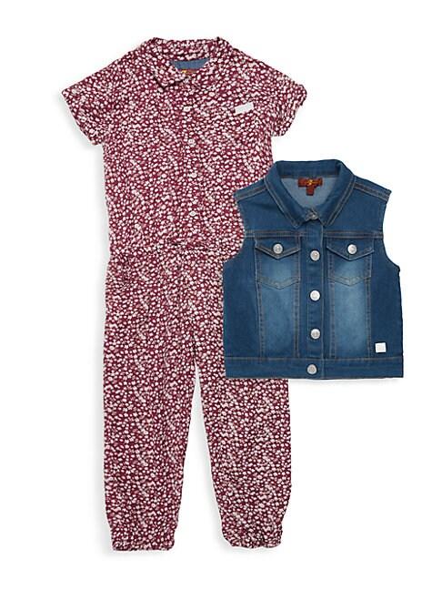 Little Girls 2Piece Jean Vest  Floral Jumpsuit Set