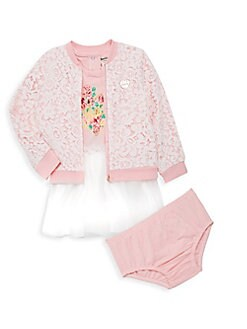 8cef7fc6a Juicy Couture. Baby Girl's 3-Piece Lace Bomber Jacket Set