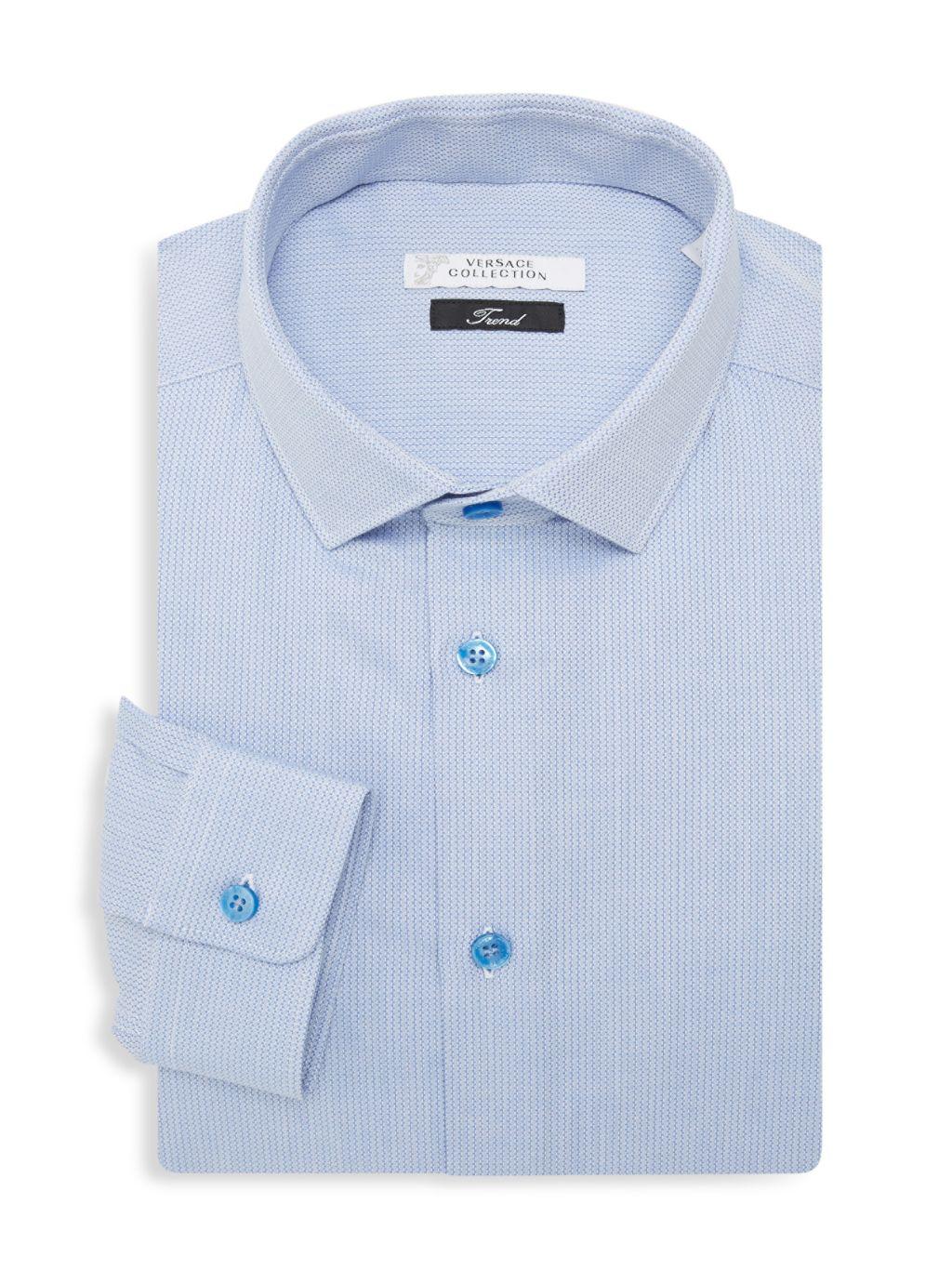 Versace Collection Trend Fit Textured Dress Shirt