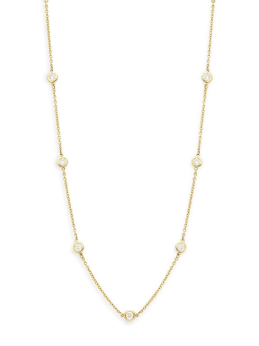 Women's 14K Yellow Gold & 0.70 TCW Diamond Station Necklace