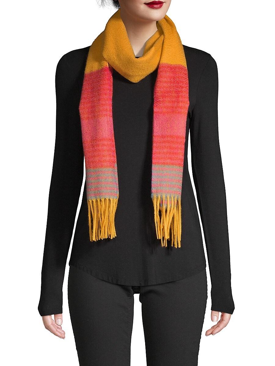 Women's Wool Striped Fringe Scarf