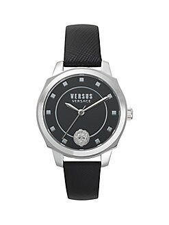 499882937258 Stainless Steel Quilted Leather Strap Watch BLACK. QUICK VIEW. Product image