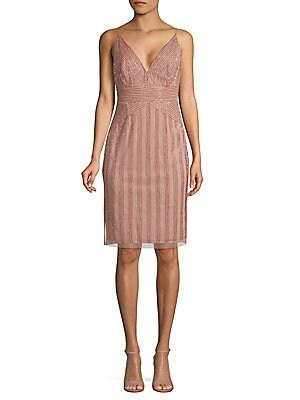 Beaded Sleeveless Dress by Adrianna Papell
