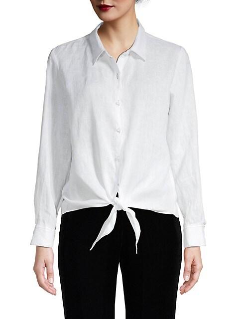 Raffi Tie-Front Linen Button-Down Shirt